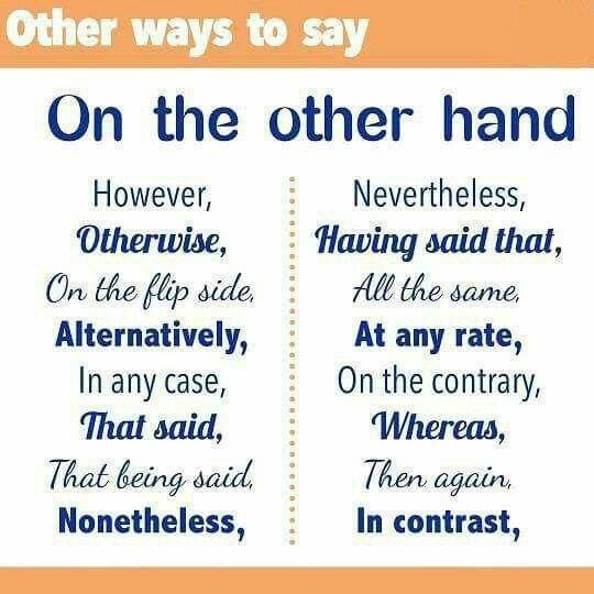 "a483ef8743 Other ways to say ""on the other hand"""