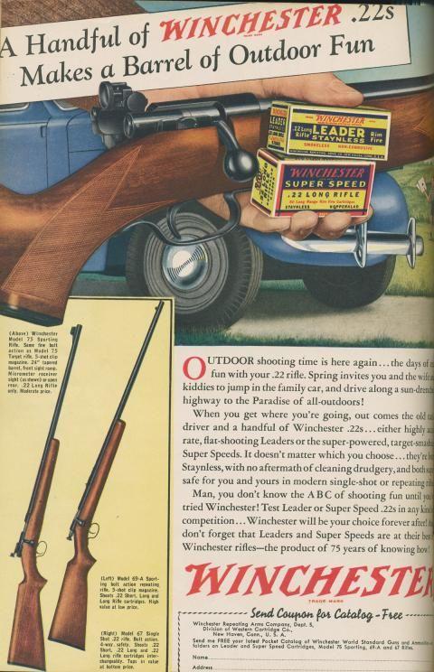 Winchester  22 ammo | Gun Ads | Guns, Winchester firearms, Hunting