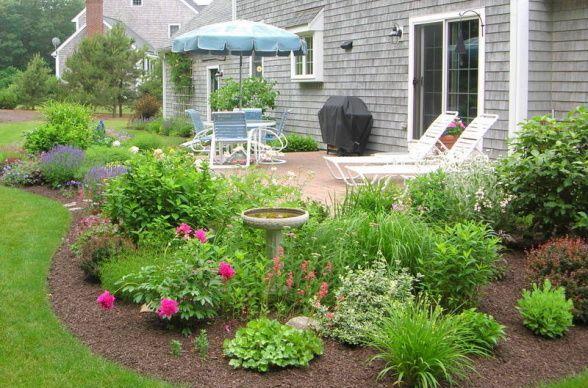 how to landscape around concrete patio