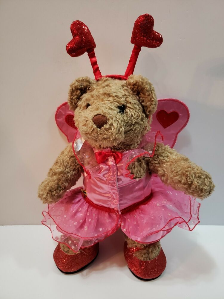 Wings Build a Bear Red//White Dress with Flowers Hearts