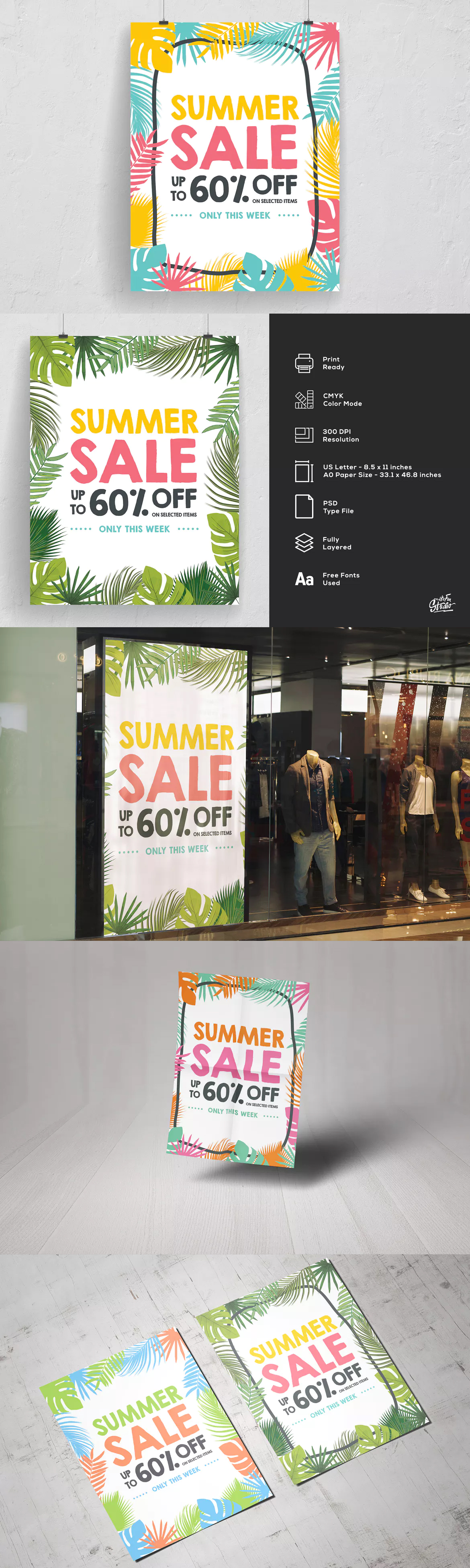 Palm Leaves Summer Sale Poster And Flyer Template PSD | Flyer ...