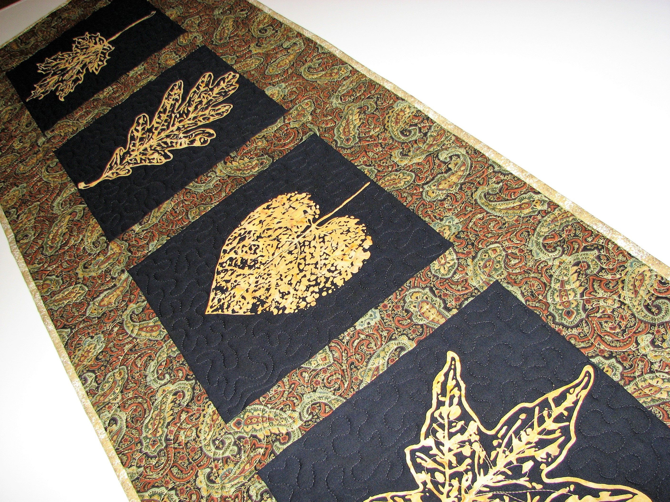 Autumn Quilted Table Runner, Black And Gold Leaf Quilted Table