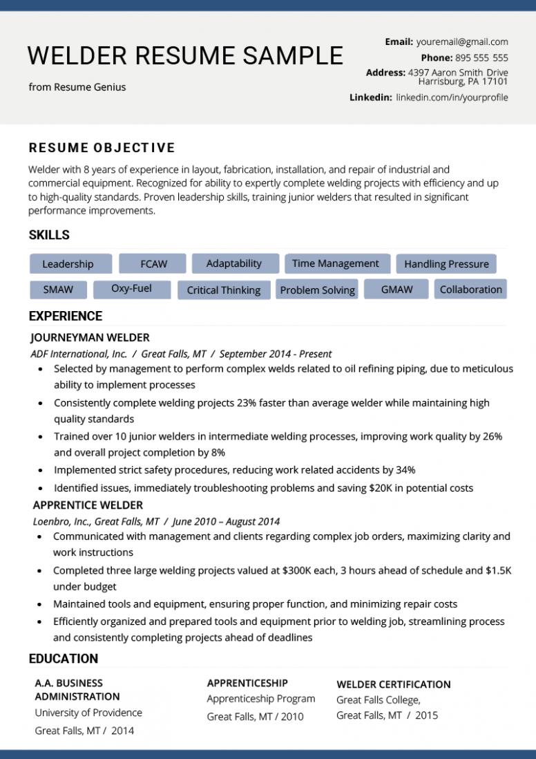 11 Welder Resume Format In Phrase Pendidikan