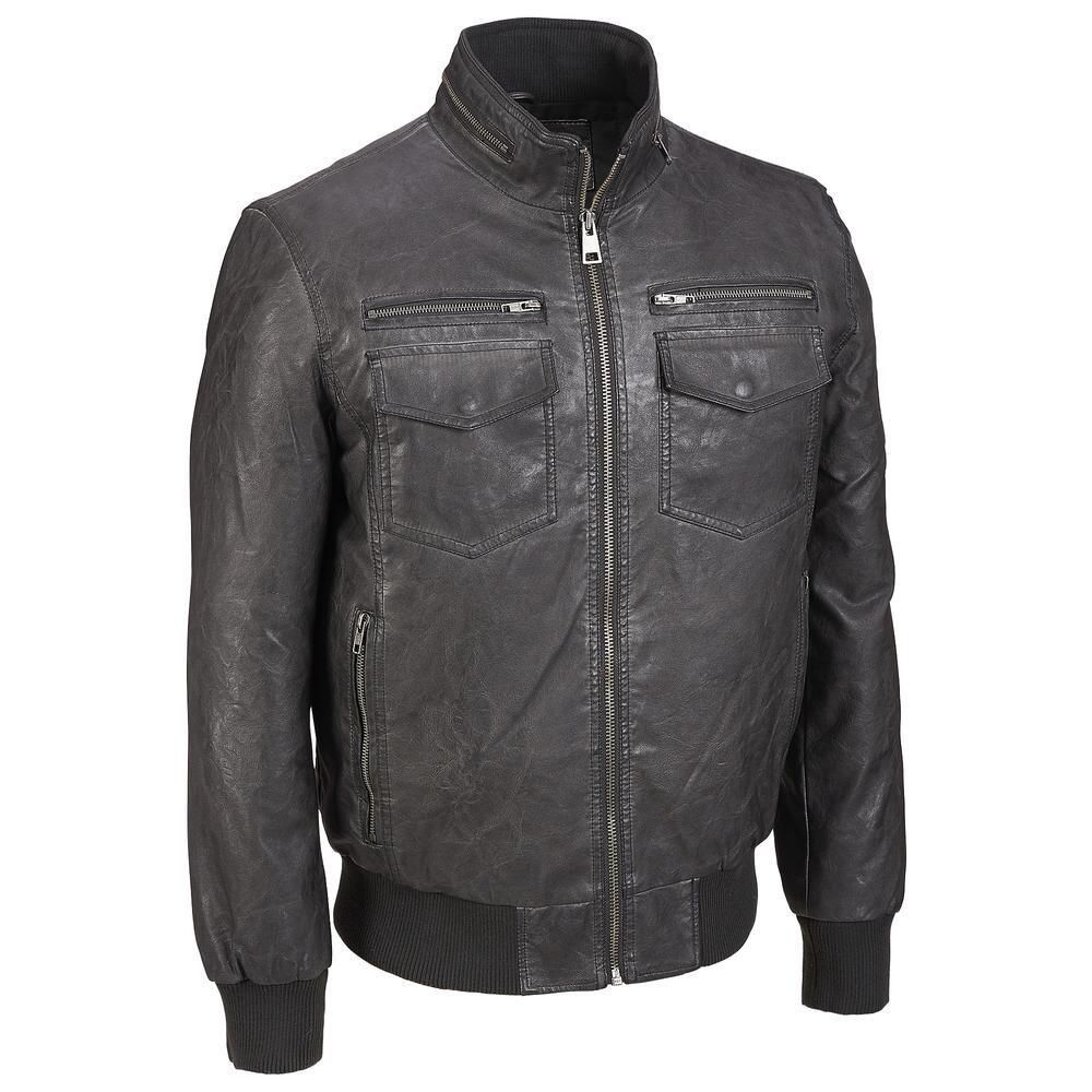 01780be75 Big & Tall Black Rivet Stand Collar Faux-Leather Bomber Jacket ...
