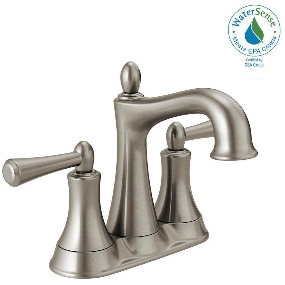 Delta Rila 4 in. Centerset 2-Handle Bathroom Faucet in SpotShield ...