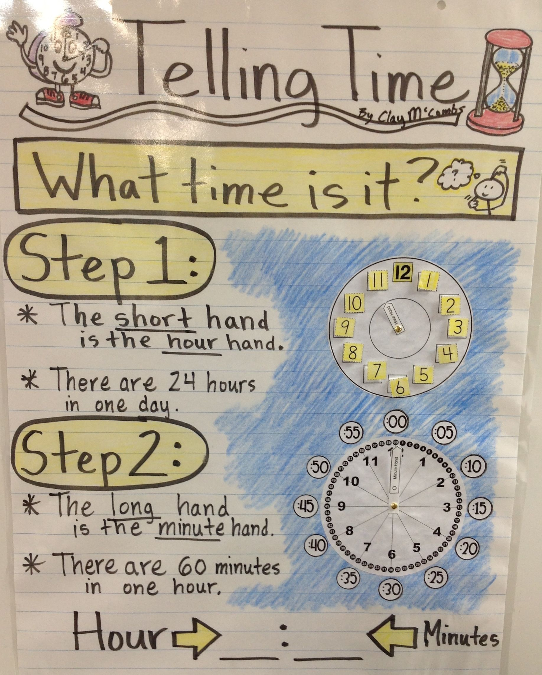 Telling time anchor chart for special needs class also math ideas rh pinterest