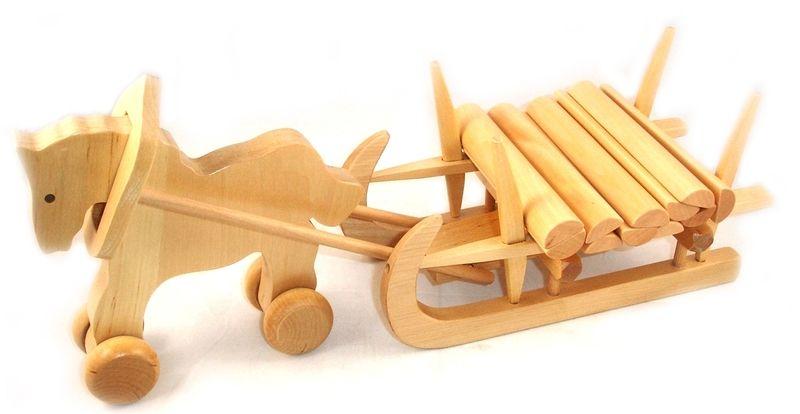 ziehtier pferde mit langholzschlitten holzspielzeug pferde und dawanda. Black Bedroom Furniture Sets. Home Design Ideas