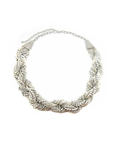 Twisted Silver Chain And Bead Necklace