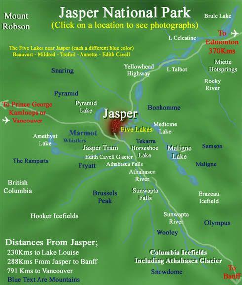 alberta jasper national park map Google Search ART217 Map