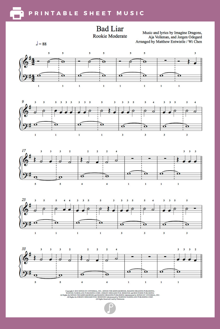 Bad Liar by Imagine Dragons Piano Sheet Music | Rookie Level