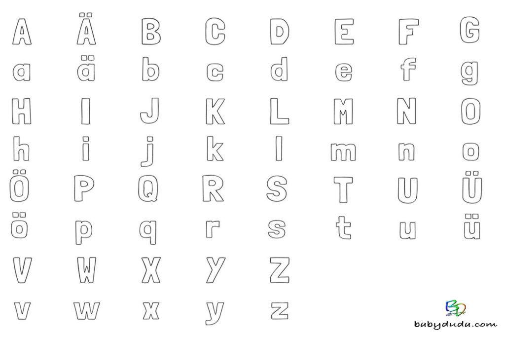 Ausmalbild ABC - Alphabet spielerisch lernen mit Buchstaben zum ...