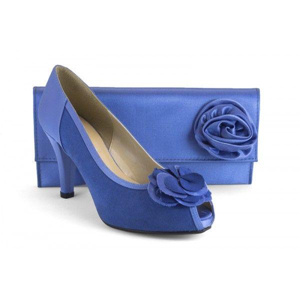 Bolso Ante Con Zapato Y 554 Azul De 12551 Vestir Raso Juego A tBpqY1x6