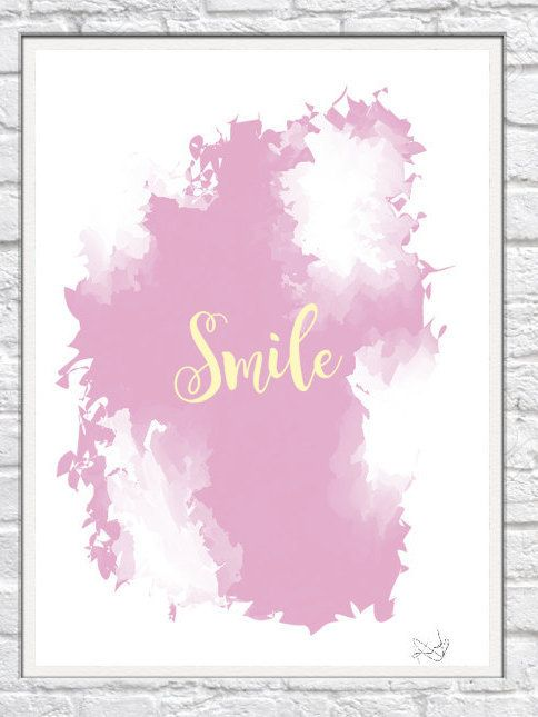 Pink Watercolour Smile  Design Print by DolceDreamDesign on Etsy  Digital Print perfect for decorating your home or as a gift for family and friends. Dolce Dream brings colours into your life.