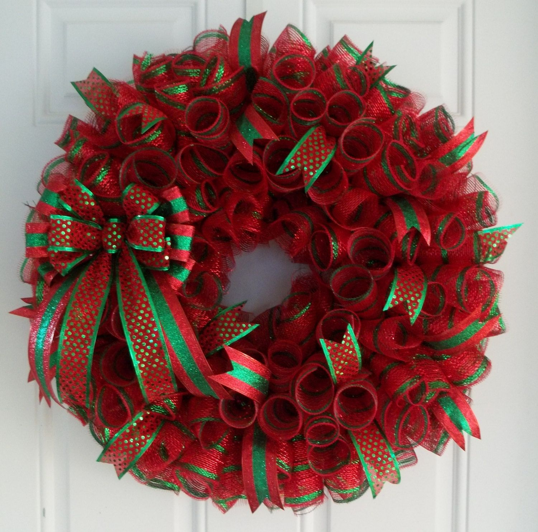 Christmas Mesh Wreath Christmas Wreath By