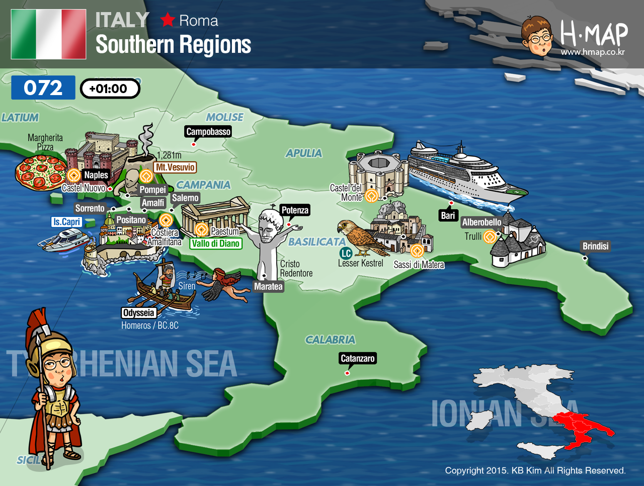 Italy Southern Regions Map Illustration Travel