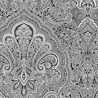 Gorgeous Black And White Paisley Wallpaper