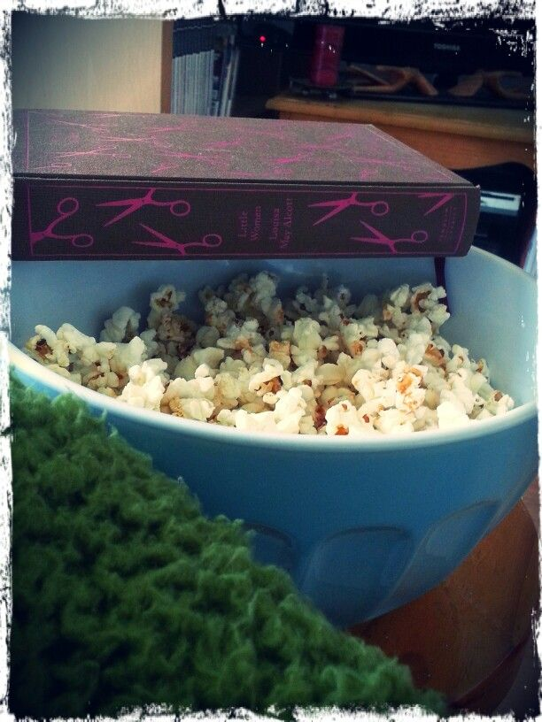 Blanket, book and popcorn :)