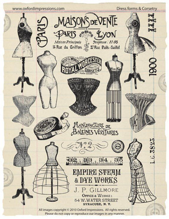 P & L Form Dress Forms And Corsetry Rubber Stamp Collection  Products .