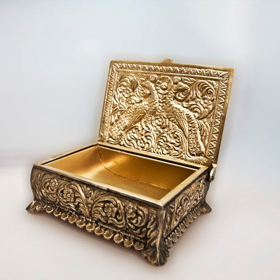 RESERVED for K Brass Jewelry Box Decorated with Birds Vintage