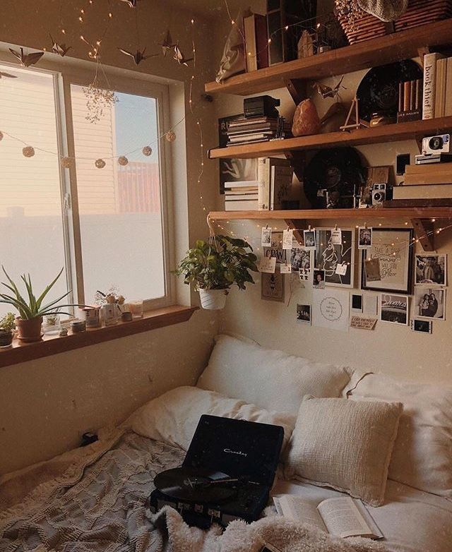 I Love The Overall Look Of This Room Especially The Plants Photos And Himalayan Salt Lamp Hiding On The Shelf House Rooms Dorm Room Decor Aesthetic Bedroom