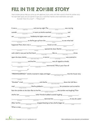 Fill in the Zombie Story | mad libs | Halloween worksheets, Fifth