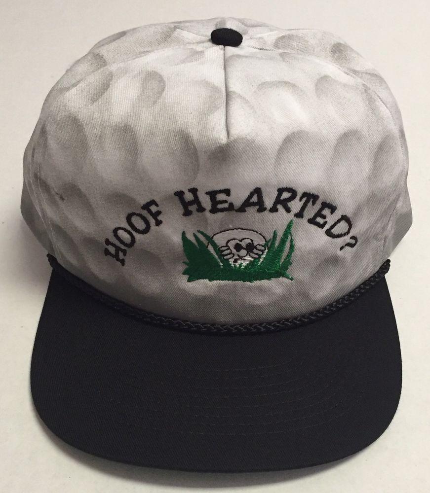 Vtg Hoof Hearted Hat Golfing Golfer Golf Ball Rope Brim Humor 90s Baseball Cap #CobraCaps #BaseballCap