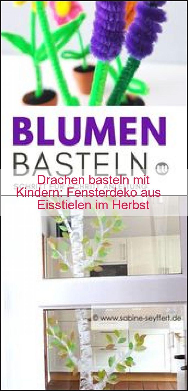 Drachen basteln mit Kindern: Fensterdeko aus Eisstielen im Herbst, #Aus #Basteln #Drachen #E...