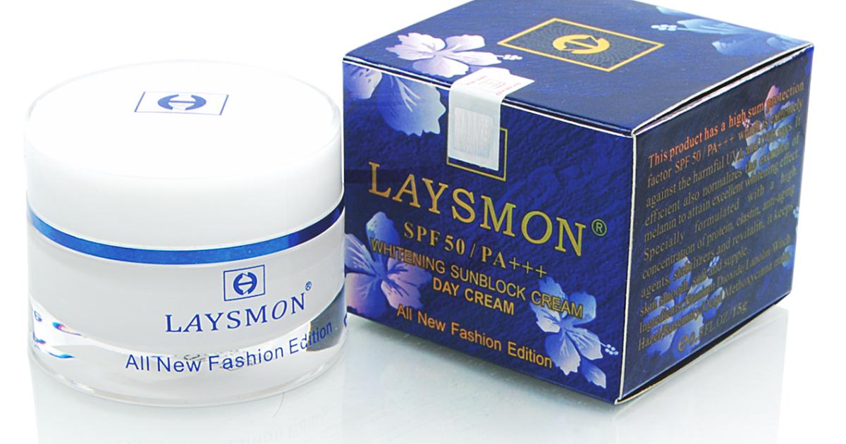 Kem Laysmon Chống Nắng Ban Ngày Whitening Sunblock Cream Day Cream - 15g - Hoa xanh. - Kem_Laysmon_ChongNang_15g