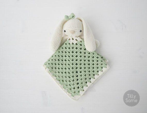 Lovely Bunny Lovey Pattern   Security Blanket   Crochet Lovey   Baby Lovey Toy   Blanket Toy   Lovey Blanket PDF Crochet Pattern