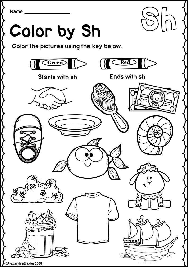 small resolution of SH Digraph Worksheets   Kindergarten phonics worksheets