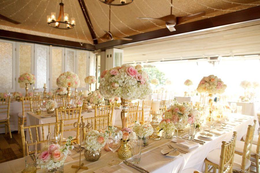 Merrimans Kapalua Maui Wedding White Gold Blush Wedding Decor