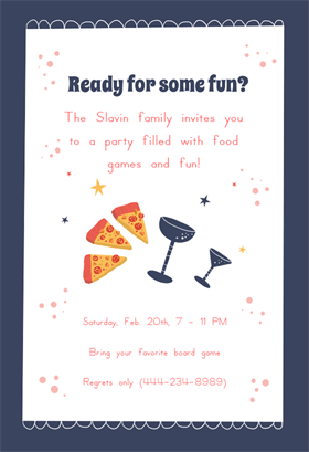 Friends Food Fun Printable Party Invitation Template Free