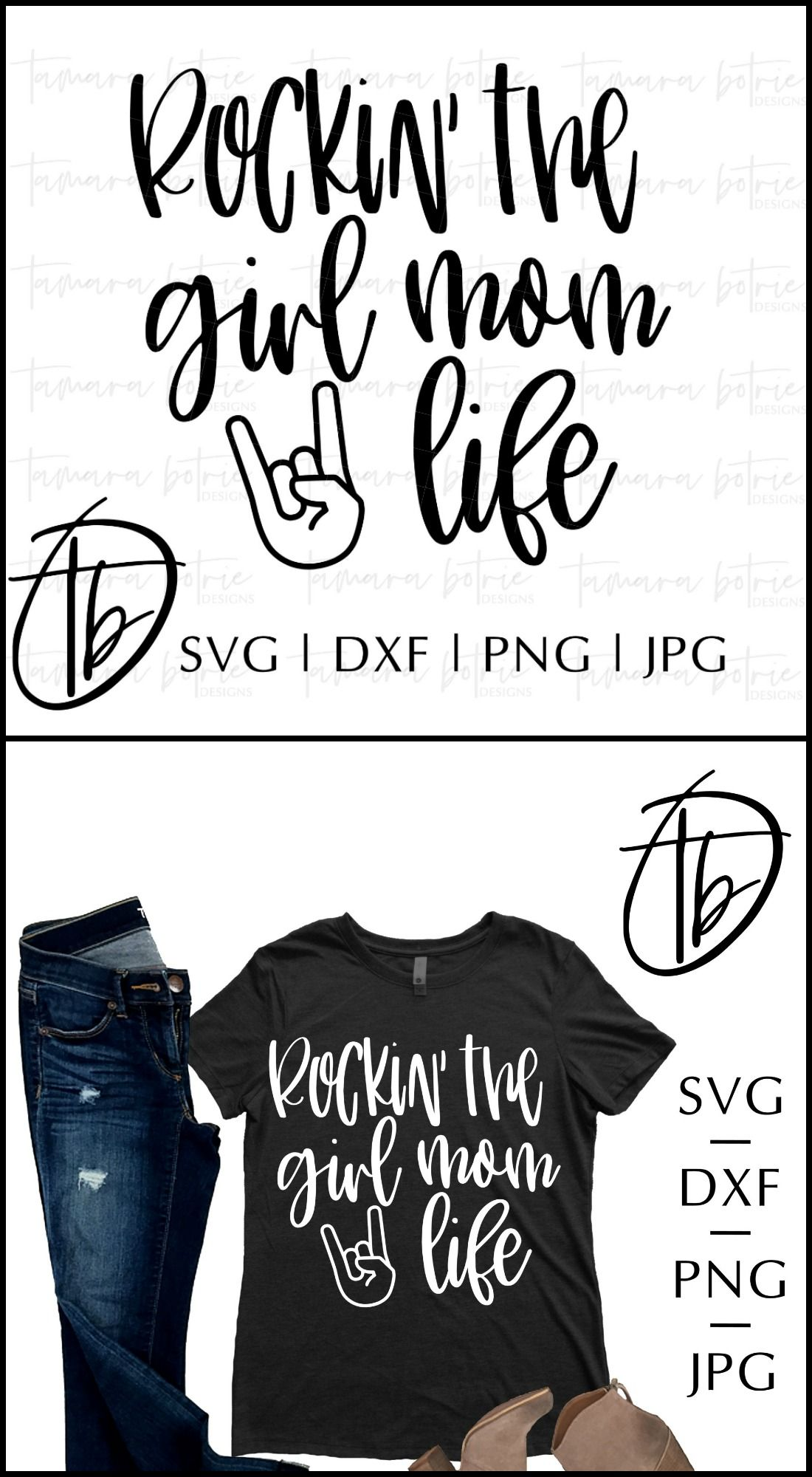 Rockin' The Girl Mom Life SVG, Girl, Mom, Mama SVG