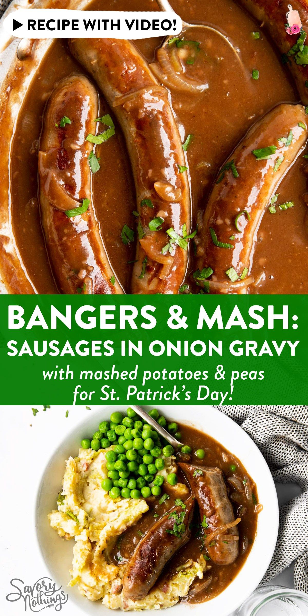 Sausages and Onion Gravy: Bangers and Mash! [Recip