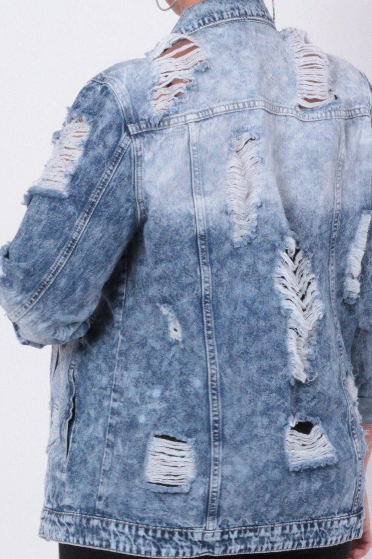 Plus size acid washed torn jean jacket medium wash looks