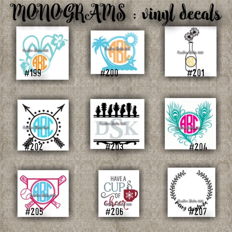 Monogram Vinyl Decals Name Initial Decal Sticker Car Decals Car Stickers Laptop Sticker 199 Monogram Vinyl Decal Initials Decal Monogram Decal [ 1500 x 1500 Pixel ]