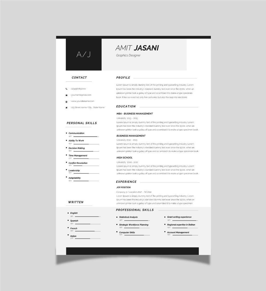 Contact icons cv template free