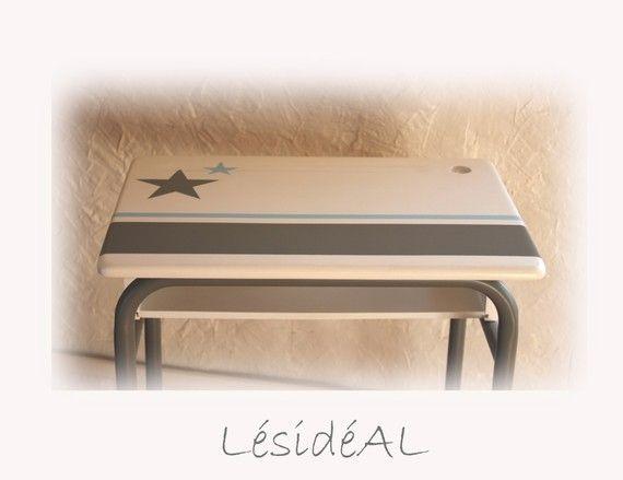 Bureau et chaise d écolier vintage relooké gris blanc bleu