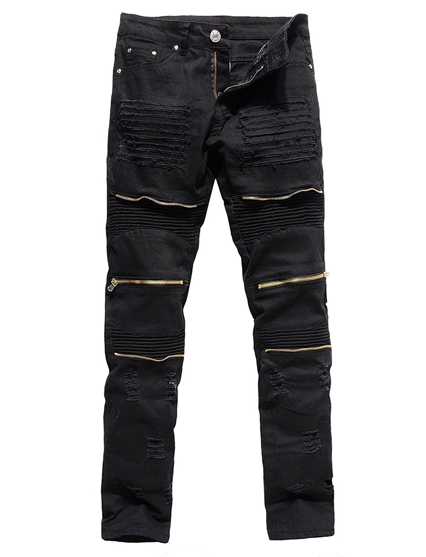 17bc3790 Men's Clothing, Jeans, Men's Distressed Ripped Biker Moto Denim Pants Slim  Fit Zipper Jeans - Black - CF17Z6QAHOZ #fashion #Jeans #men #outfits #pants