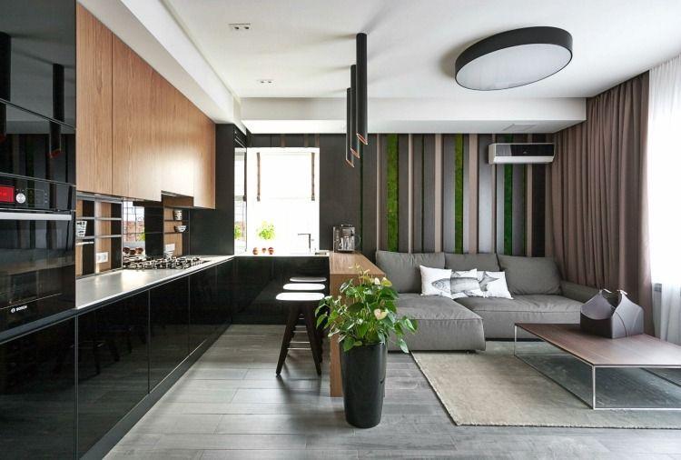 wohnkche in schwarz und holz und sitzbereich in grau - Moderne Wohnkche Weiss Mit Holz