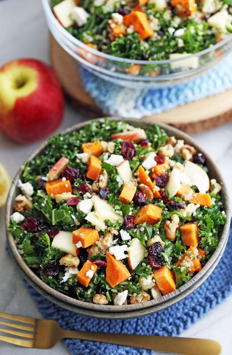 Sweet Potato Quinoa Kale Salad Recipe Salad With Sweet Potato Quinoa Kale Salad Recipes Kale Salad Recipes