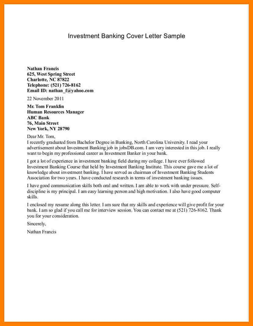 investment banking cover letter sample finance executive cover