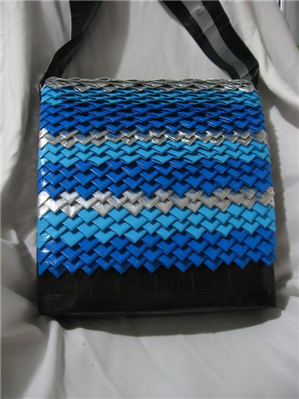 This bag is made from DuckTape! Very creative craft....and think of the possibilities in colors!
