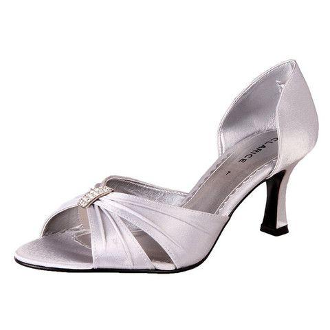 Clarice Satin Rhinestone Bridal Shoes Allum Silver The