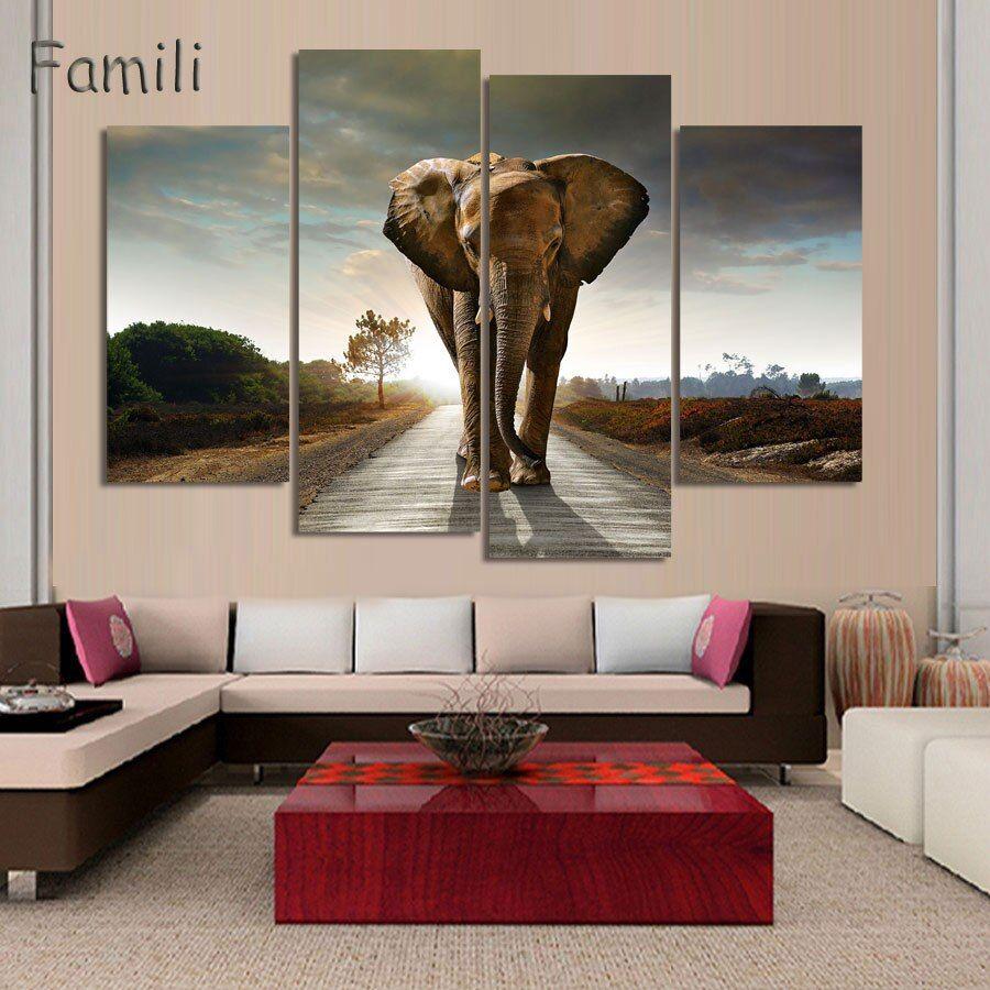 4pcs Set Animal Art Children Living Room Decoration African Elephants Canvas Printed Painting Wall Hanging Home Decor Unframed Wall Art Decor Living Room Canvas Art Wall Decor Wall Painting