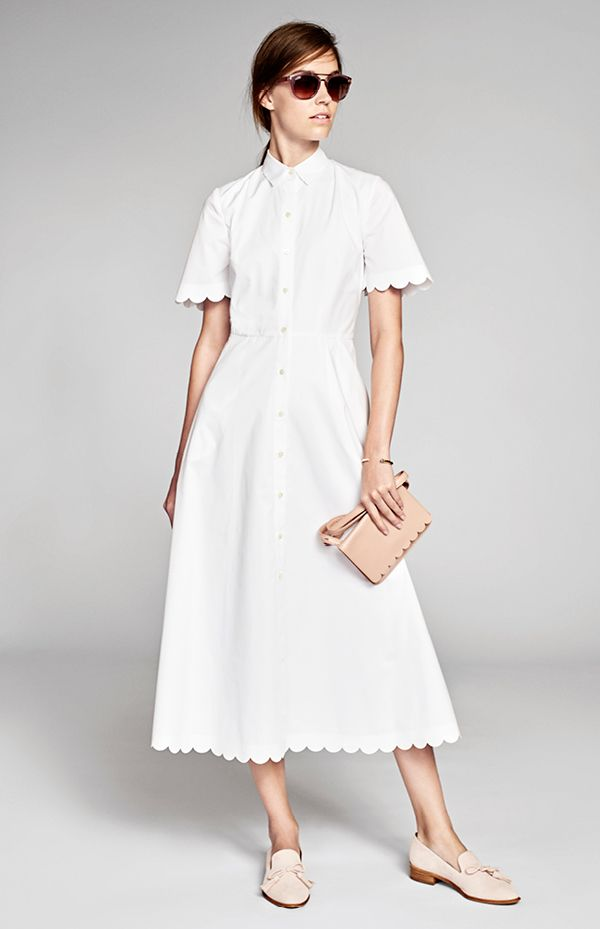NYFW Spring 2017 Collection. A classic white shirtdress gets an ultra feminine upgrade with the feminine scalloped hem | Banana Republic