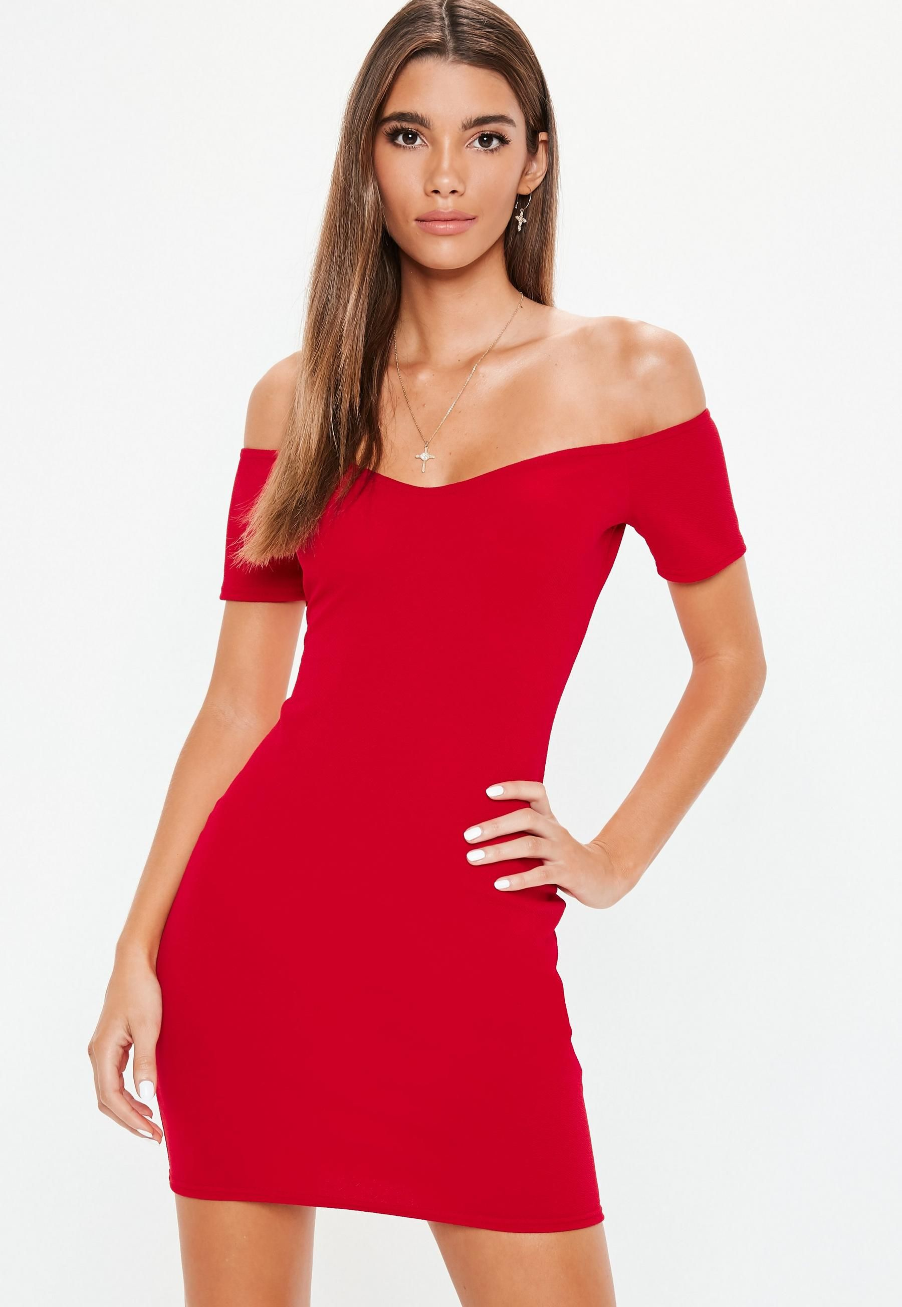 Missguided popper detail bardot bodycon dress red