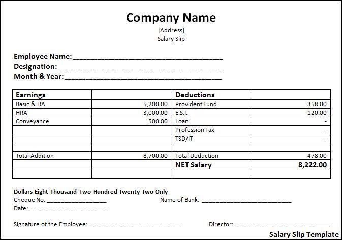 Salary Slip Templates 19 Free Printable Ms Docs Xlsx Business Plan Template Word Payroll Template Business Plan Template