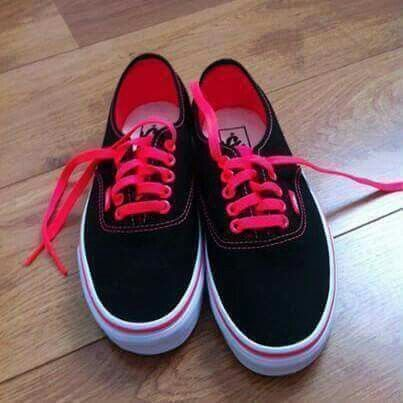 Black Vans with pink laces