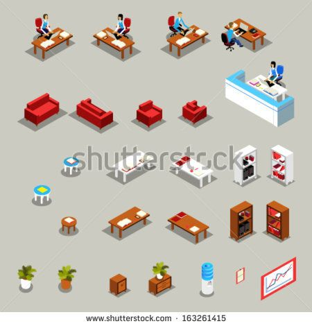 isometric office furniture vector collection. Icon Set Of Isometric Office Furniture And Business Working People: Receptionist At The Desk, Vector Collection